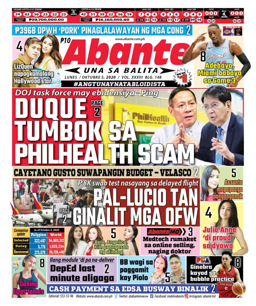Abante Front Page, Isyu Ngayon